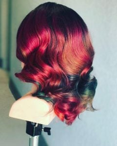 model rambut ombre holografik curly