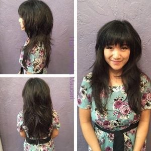 model rambut shaggy layer panjang